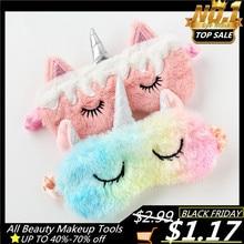 Máscara para dormir con dibujos de unicornios, venda de felpa para sombra de ojos, para viajes, fiesta en casa, 1 unidad
