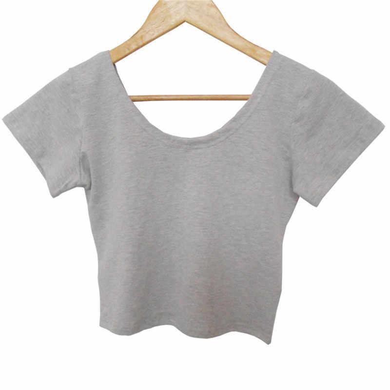 Yaz seksi kırpma üstleri kadın kısa kollu Tees zarif düz temel tişörtleri rahat yuvarlak boyun Tee gömlek Femme