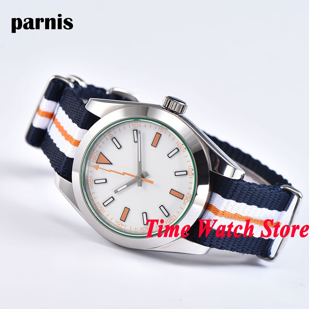 40mm Parnis white sterile dial orange flash hand sapphire glass Nylon strap Mechanical Automatic movement men's watch 1064