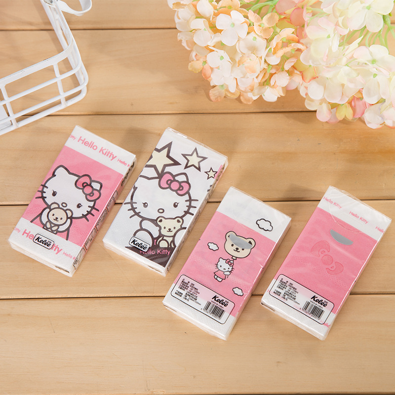 Hello Kitty Printed Handkerchief Tissue Cartoon Cute Napkin Handkerchief Paper Extraction Toilet Paper