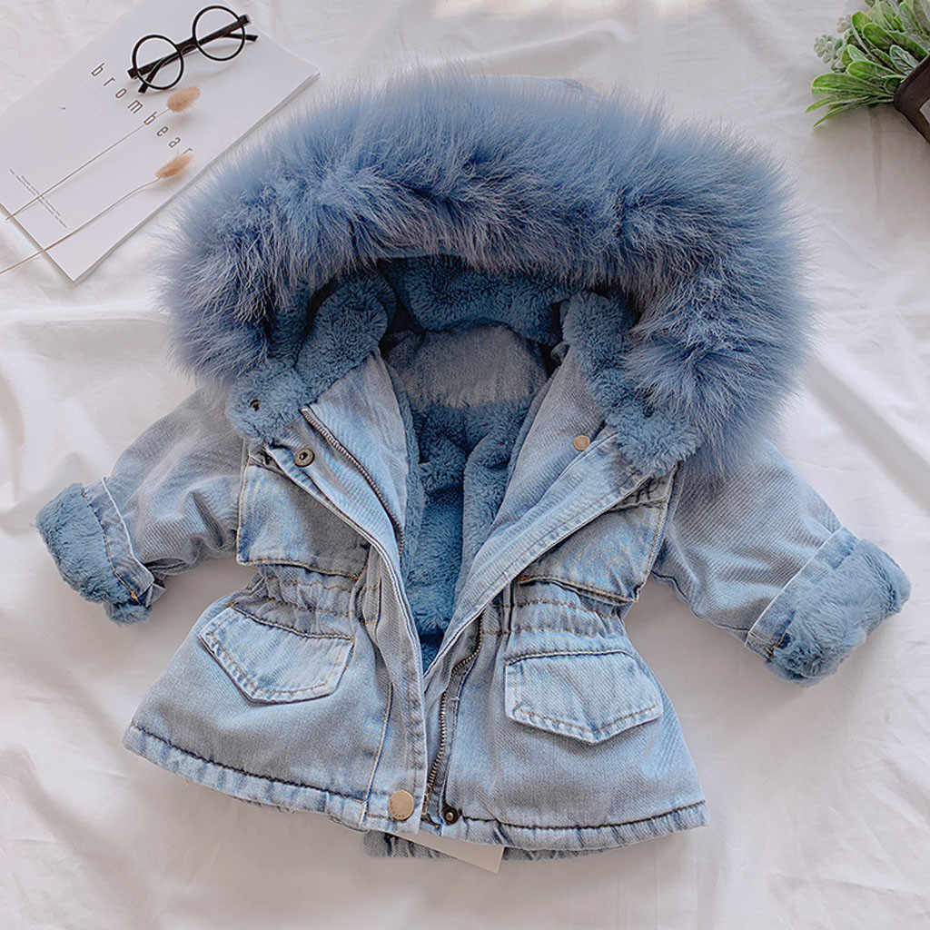 kids jackets for girls hooded Faux Fur Fleece Warm Coat Toddler Kids Baby Girls Hooded  Thick Denim Outwear #C
