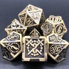 Figuren Metall Rpg Würfel Tabelle Spiel Warhammer Sets Dnd Miniaturen Mtg Polyhedral Boardgames D4 D6 D8 D10 D12 D20 Blau 7 stück