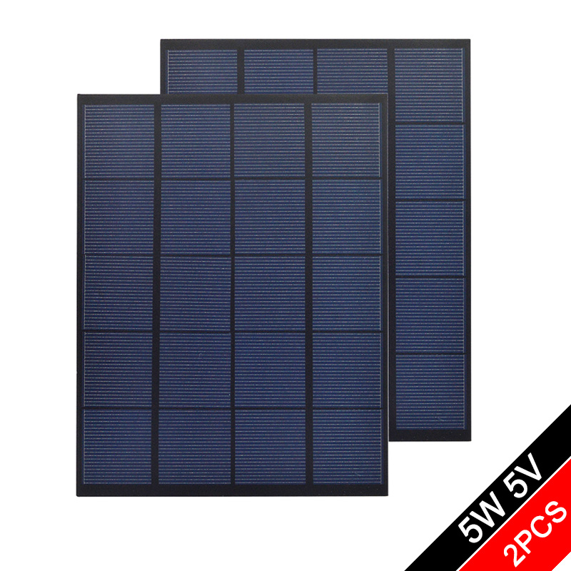 5V 6V 12V 18V 5Watt 5W Solar Panel PET Polycrystalline Silicon DIY Battery Power Charge Module Mini Solar Cell toy - 2PCS image
