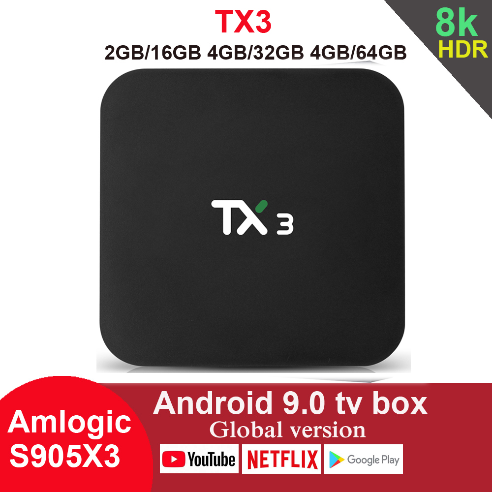 TX3 Android 9.0 TV Box Amlogic S905X3 4GB 64GB 8K 2,4G 5G Wifi Bluetooth Youtube HDR google Spielen Netfilx Set Top Box
