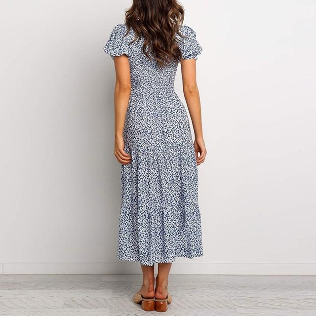 Women's Bohemian Round Neck Lantern Sleeve Floral High Waist Stitching Long Dress Casual Chiffon Floral Dress Summer Sexy 02*