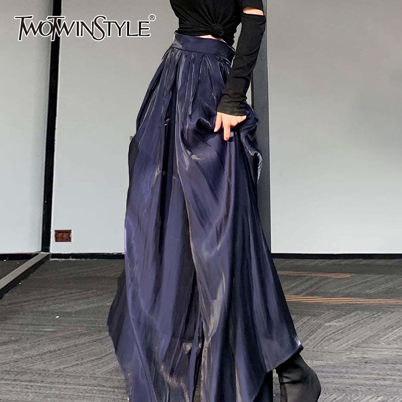 TWOTWINSTYLE Casual Pleated Women Full Length Pants High Waist Gilt Loose Wide Leg Pant For Female Fashion Clothing 2020 Spring