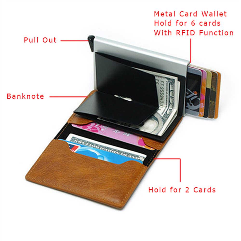 Yambuto Anti-Diefstal Rfid Blocking Smart Portemonnee Mannen Vintage Portemonnee Pu Lederen Unisex Security Informatie Aluminium Mini Purse