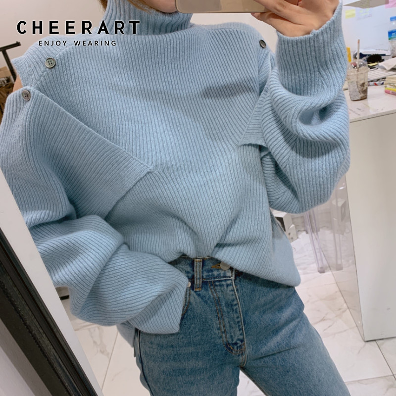 CHEERART Turtleneck Cold Shoulder Sweater Women Loose Lazy Jumper Winter Knitwear Korean Knitted Sweater Clothing
