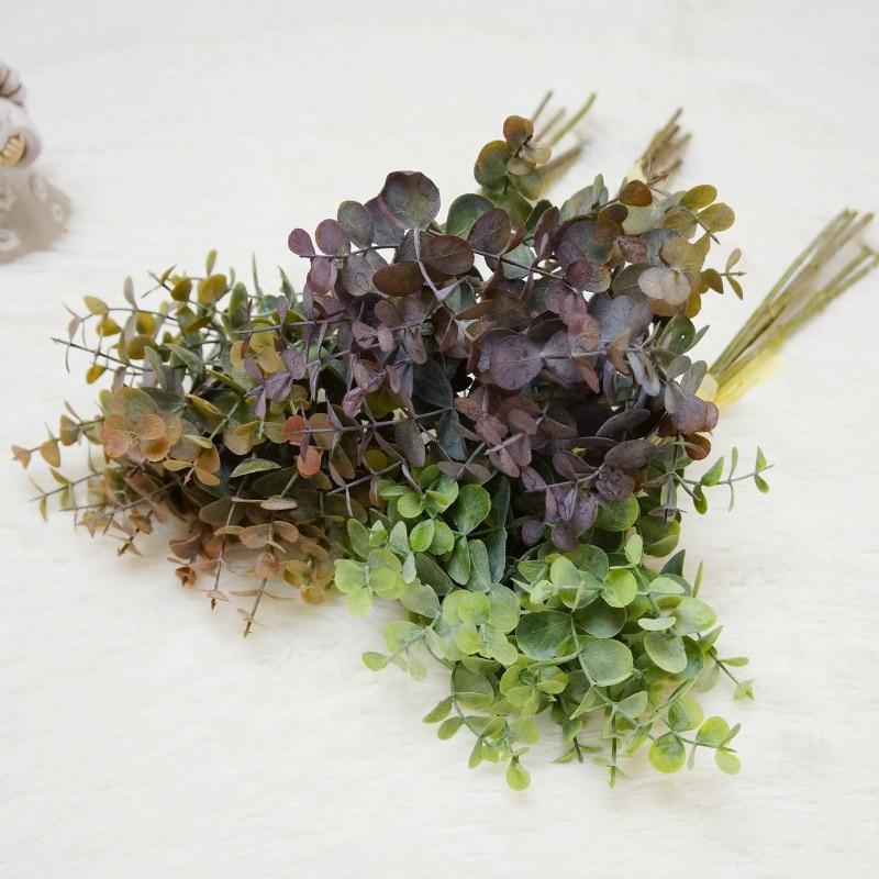 6 stück/Bündel Künstliche Pflanzen Großhandel Dekorative Blumen Kränze Eukalyptus Geld Blatt Vasen Wohnkultur Billig Gefälschte Blume