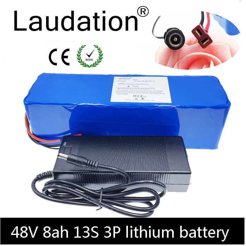 Laudation 48V 8ah electric bicycle battery 48V8ah built-in <font><b>15A</b></font> <font><b>bms</b></font> electric bicycle <font><b>13S</b></font> 3P for 250W 350W motor With 2A charger image