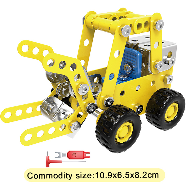 Metal Building Block Engineering Bulldozer Crane Technic Truck Blocks Construction Vehicle Educational Toy For Children