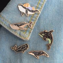 New cartoon whale dolphin series brooch enamel needle mini badge jewelry gift FXM