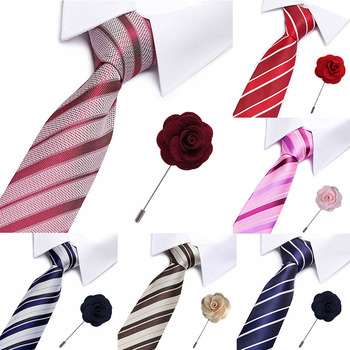 Mens Ties Stripe Necktie Wedding Party Plaid For Men Polyester Silk Fashion Tie Bow tie Gifts Formal Accessories