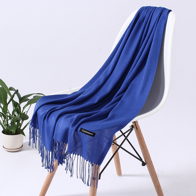 Fashion Solid Color 2020 Women Scarf Winter Hijabs Tessale Tassels Long Lady Shawls Cashmere Like Pashmina Hijabs Scarves Wraps 8