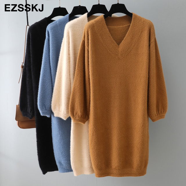 v-neck short lantern sleeve loose mini sweater dress   3