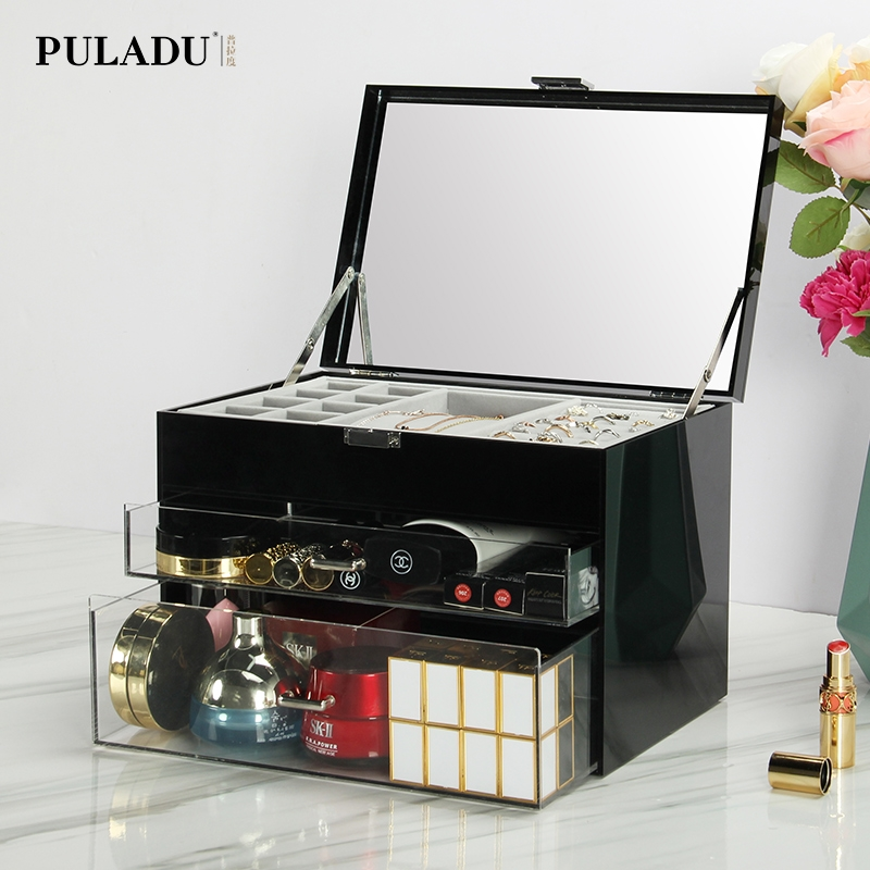 Acrylic Dormitory Cosmetic Storage Box Dust-proof Crevice Holder Dressing Table Top Drawer Makeup Cabinet
