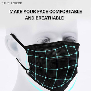 Image 2 - 10/50/100/500pcs Disposable Face Mask Nonwoven 3 Layers Anti Dust Smog Civil Breathable Gauze Mask Adult Black Face Mouth Masks
