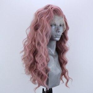 Websterwigs Peluca de pelo sintético sin pegamento, parte lateral rosa, fibra de pelo largo, cuerpo ondulado, peluca de encaje Frontal de Cosplay de Anime