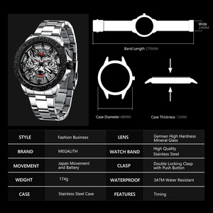Image 4 - MEGALITH 최신 늑대 머리 양각 시계 남자 럭셔리 스테인레스 스틸 시계 방수 빛나는 남성 시계 Relogio Masculino 2020