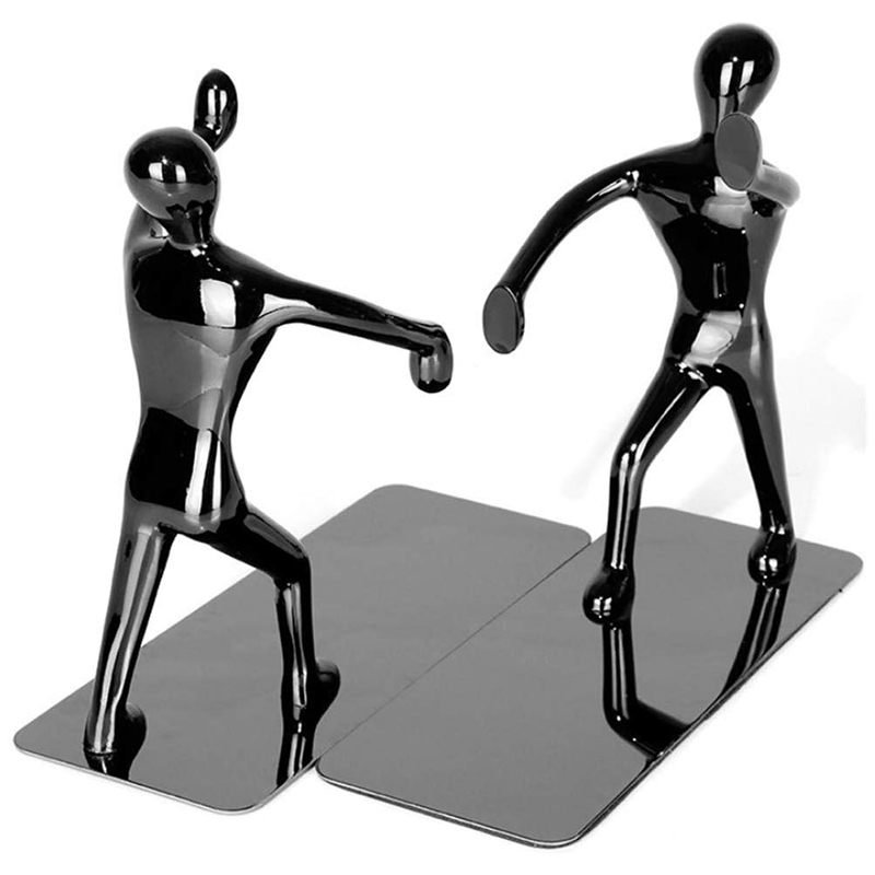 2Pcs Fashion Cool Metal Human Shaped Bookend Bookshelf For School Office Stationery Gifts Supplies