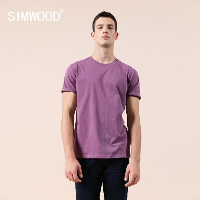 SIMWOOD 2021 Summer New 100% Cotton White Solid T Shirt Men Causal O-neck Basic T-shirt Male High Quality Classical Tops 190449 3
