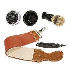 Прямой комплект бритвы Набор для бритья «5 в 1» для бритья щетка для бритья кружка мыло Бритвы ремень бритвенный набор для Для мужчин для бри...