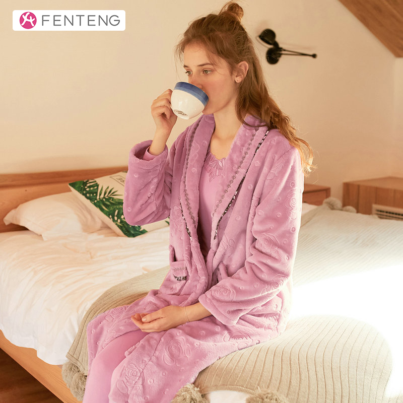FENTENG Spring Pink Nightgown Velvet Women Homewear Clothing Long Sleeves Sleepwear Robe J98041532