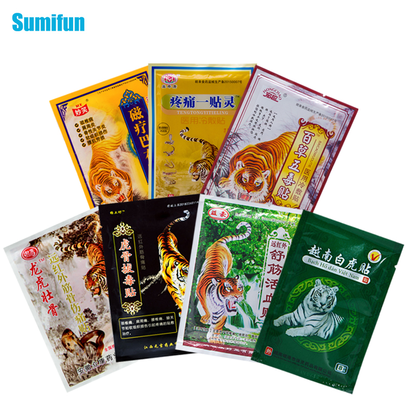 8Pcs/bag Of 7 Different Types Tiger Balm Plaster Joint Arthritic Body Pain Relieving Pain Relief Patch Medical Ointment