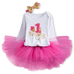Bebê menina aniversário vestido de festa 12 24 meses bebê menina vestido de princesa 1 2 anos de idade roupas de aniversário 3 pçs conjuntos vestido para recém-nascido