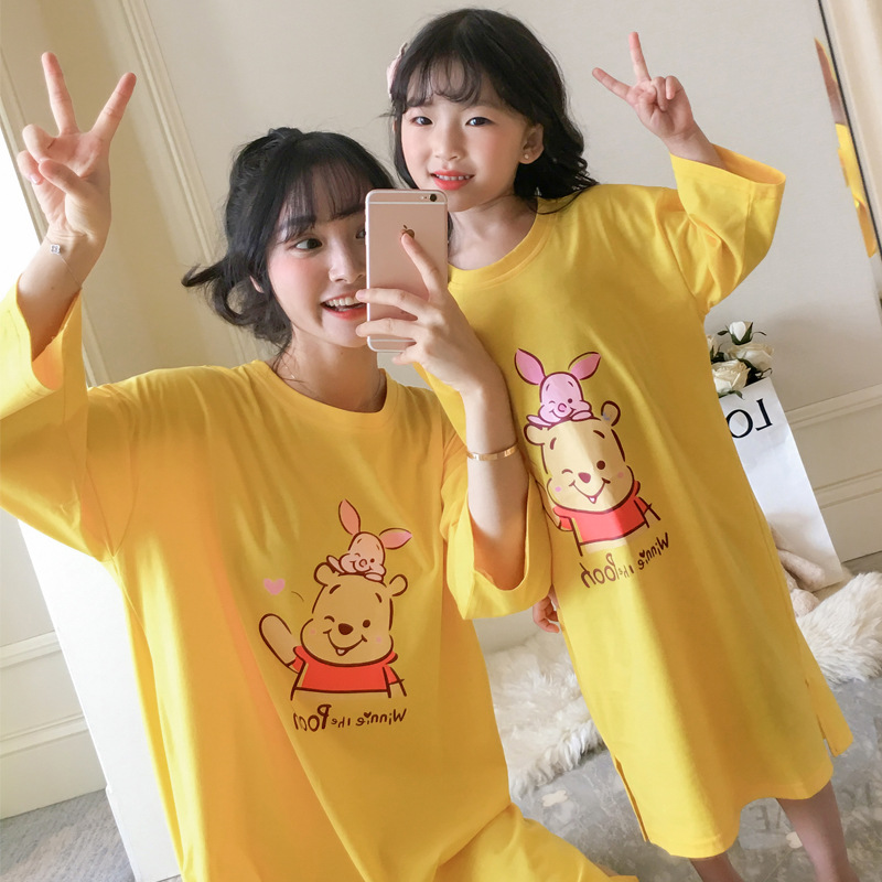 Nightgown Women's Spring And Autumn Long Sleeve Pure Cotton Mother & Daughter Winnie The Pooh Pajamas Parent And Child Kids Chil