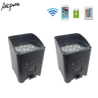 2pcs/lots 6*18w RGBWA UV Wireless Par Light Remote Control Battery Remote Wifi Control Outdoor Stage Lights Wedding Up lights