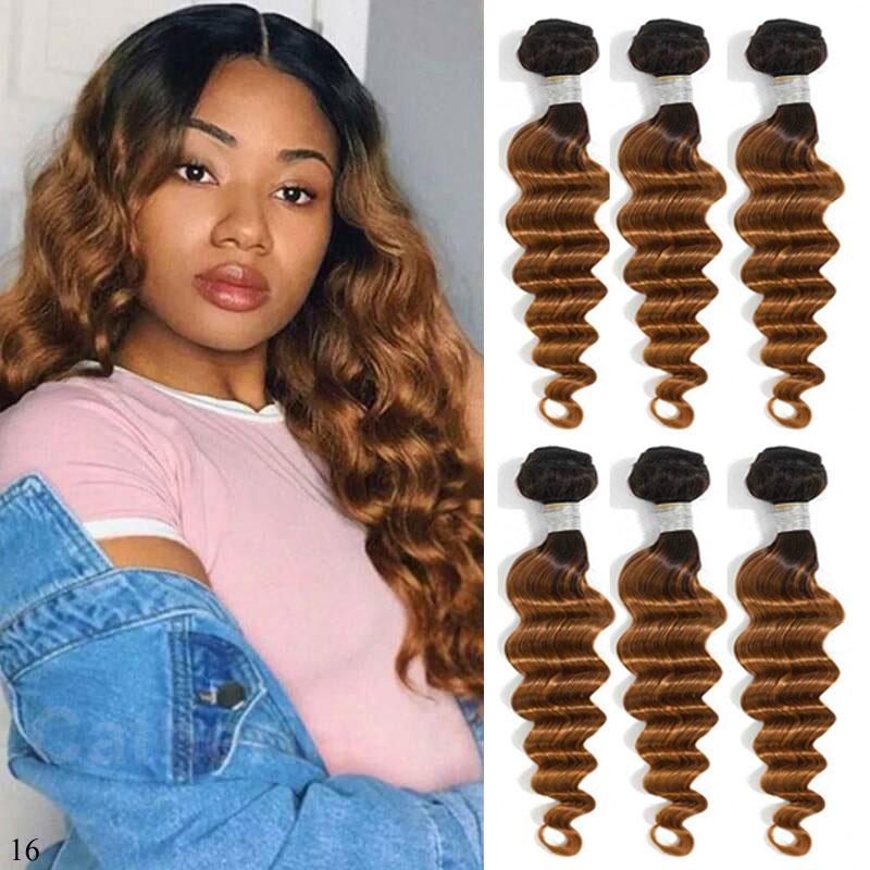 Ombre gevşek derin dalga demetleri 1B 4 27 30 kıvırcık saç 3 4 demetleri anlaşma gölgeli insan saçı demetleri Remy brezilyalı saç örgü demetleri