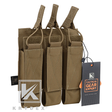 KRYDEX Tactical MOLLE Triple Open Top SMG Mag Pouch per MP5 MP7 KRISS portariviste triplo modulare per Airsoft Hunting CB
