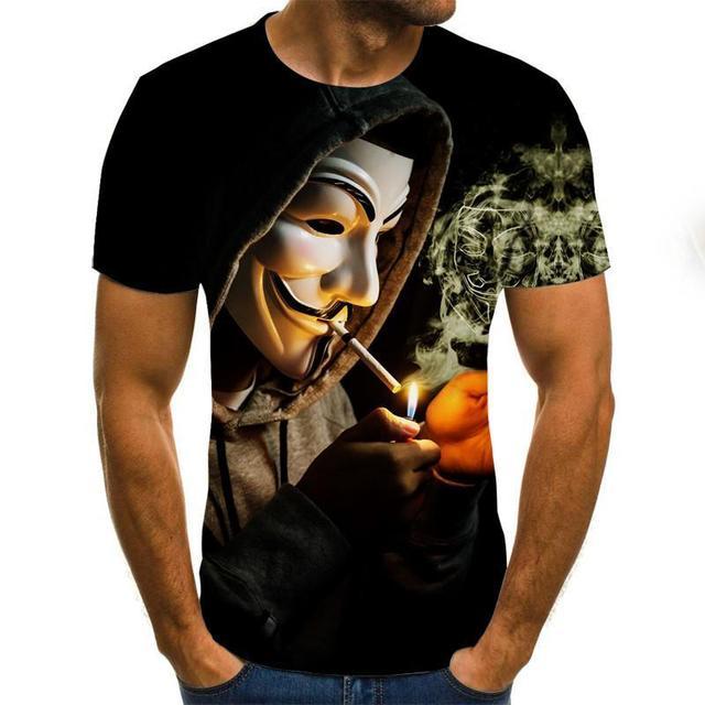 Camiseta de Anonymos  de gran oferta, camisetas de moda con estampado 3D de cara de Joker para hombre y mujer, talla XXS-6XL 2