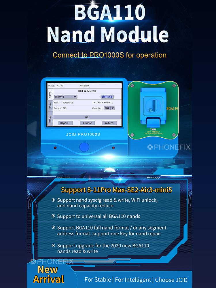 Tools : JC P11 BGA110 Nand Programmer JC Pro1000S HDD SN Read Write Error Repair Unbind WIFI for iPhone 8-11 Pro Max iPad Air3 Mini5 SE2