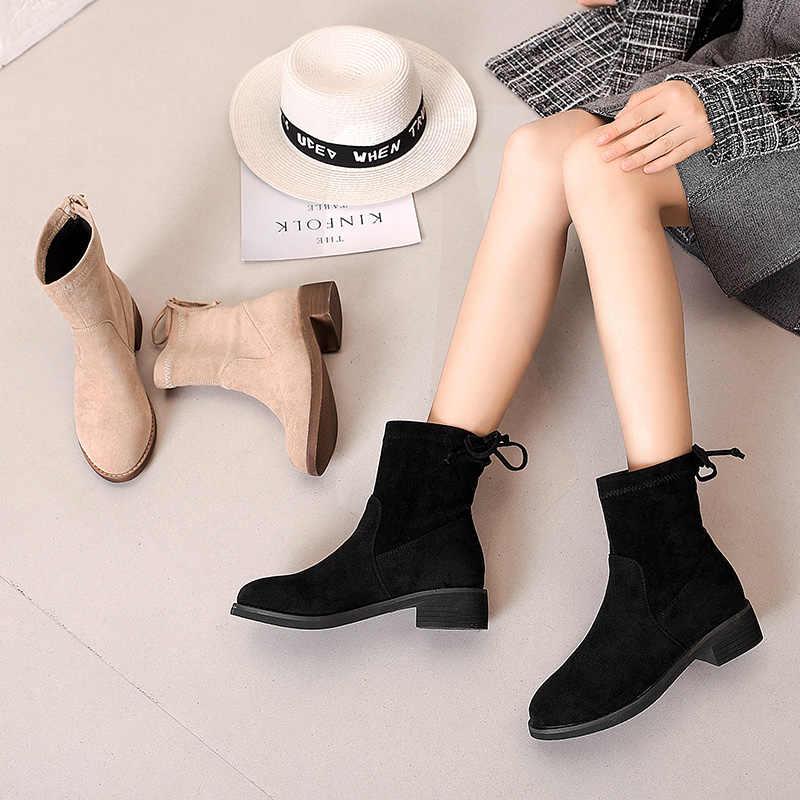 Nouveau 2019 femmes Chelsea bottes troupeau bout pointu mi-mollet dames chaussures antidérapant et résistant à l'usure talon bottes à la main
