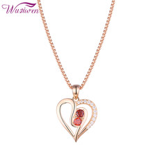 Wuziwen 925 Sterling Silver Heart Shape Pendant Necklace For Women 18 Inches Rose Gold Red zircon Romantic Wedding Jewelry(China)