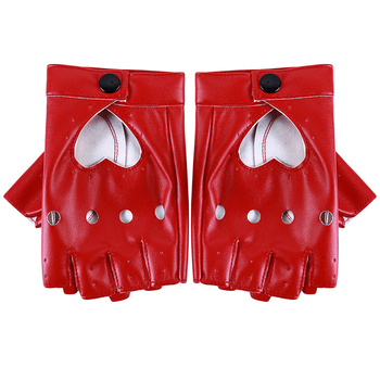 Leather gloves luvas guantes mujer for women girls Red balck white Loving heart gloves for women фото