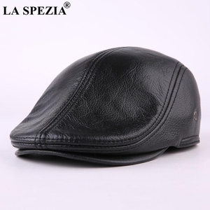 Image 5 - LA SPEZIA Classic Beret Caps Men Warm Genuine Leather Caps Ivy Windproof Duckbill Hat Burgundy Winter Luxury Brand Flat Hats