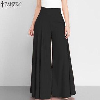 Stylish Pants Women's Wide Leg Trousers ZANZEA 2020 Casual Zip Up High Waist Long Pantalon Palazzo Female Solid Turnip Plus Size
