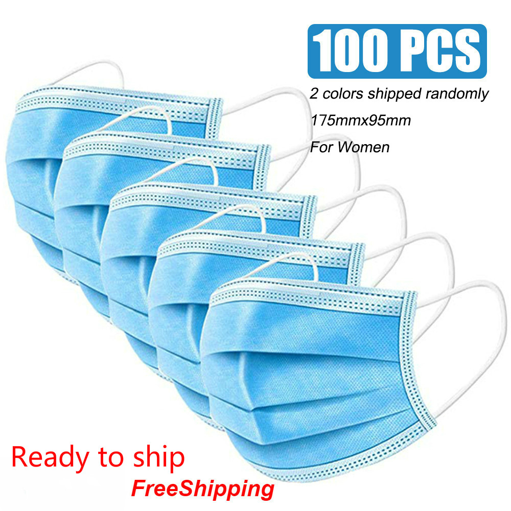 24 Hours In Stock Medical Face Mask 100 Pcs Surgical Medical Anti-virus Respirator Disposable Mouth Masks 3 Layer Earloop Masks
