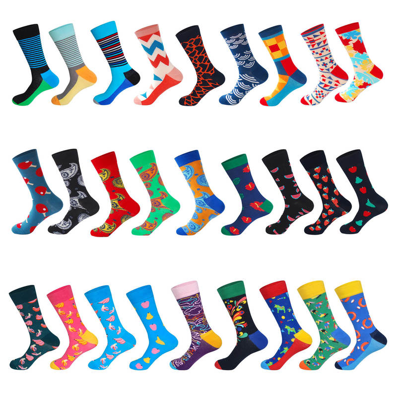 LIONZONE Men Funny Colorful Combed Cotton Fruits Pony Flowers Abstract Painting Cotton Tube Male Socks Unisex Socks