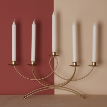 Nordic Style 3D Candlestick Metal Candle Holder Wedding Centerpiece Candelabra Dinner Home Decor  N26 20 Dropshipping
