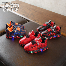 Sneakers for Boy with LEDs Glowing Sneakers Spiderman Kids Shoes