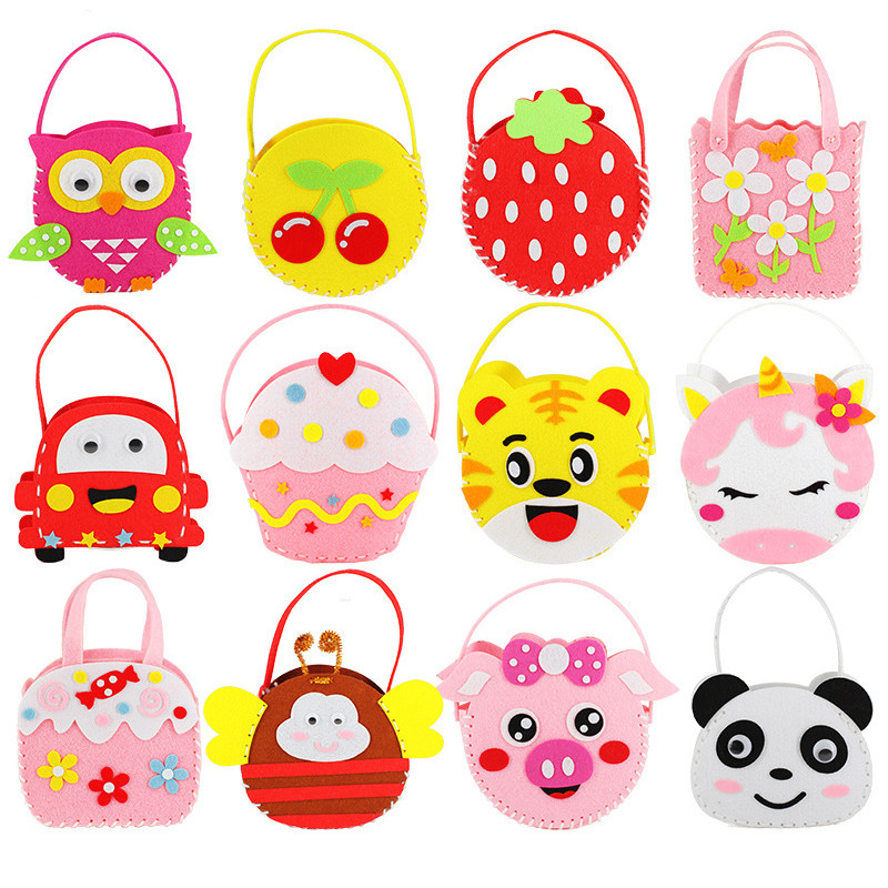 DIY Mini Non-Woven Cloth Fabric Handbag Children Sewing Toys Bag Cloth Colorful Handmade Cartoon Animal Childrens Handbags  Gift