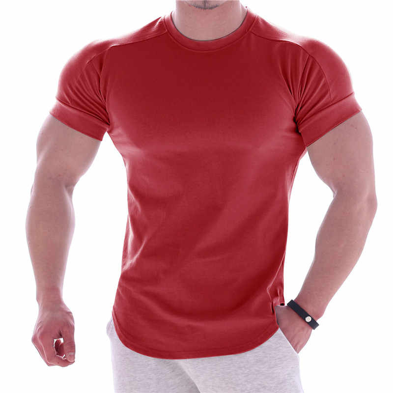 Mens Summer Round Neck Short Sleeve Quick Dry Slim Fit Big and Tall Thin Sports Gym Fitness T Shirt Top