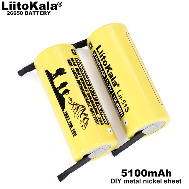 3 12PCS  Liitokala Lii 51S 26650 20A rechargeable battery, 26650A lithium Batteries 3.7V 5100mA  Suitable for flashlight+Nickel