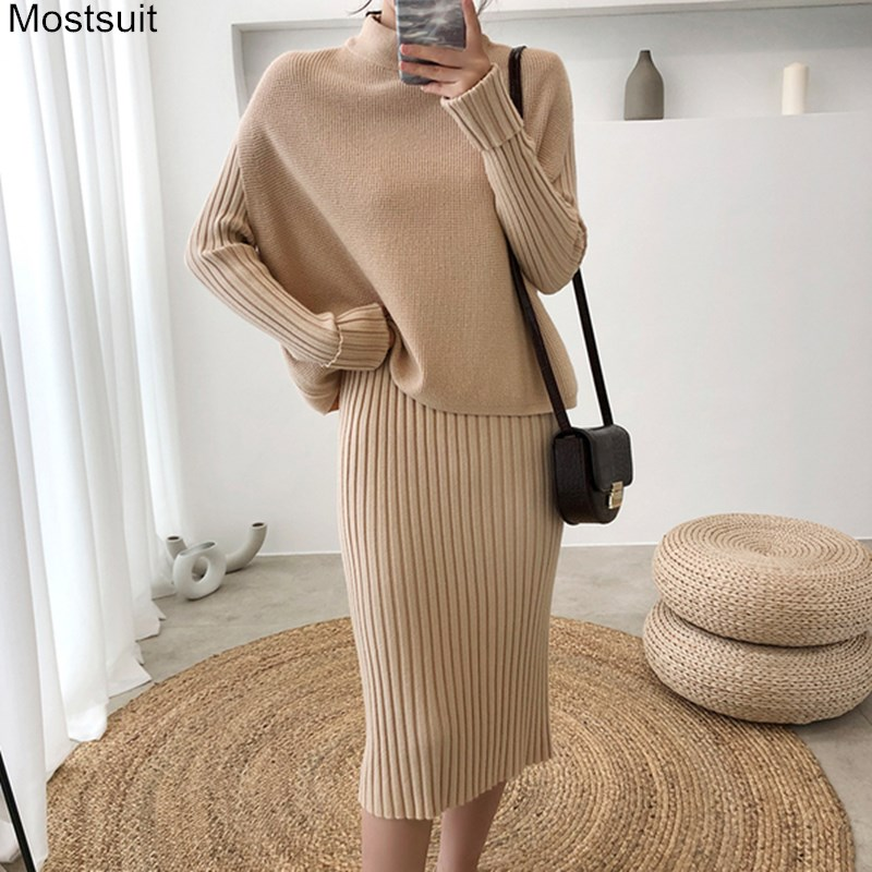 Knitted Two Piece Sets Outfits Women Sleeveless Tops + Long Sleeve Dress Suits Autumn Winter Korean Female Ladies Fashion Sets
