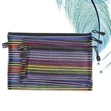 3Pcs Colorful File Pockets Nylon Mesh Zipper File Storage Bags Documents Organizer Pouch