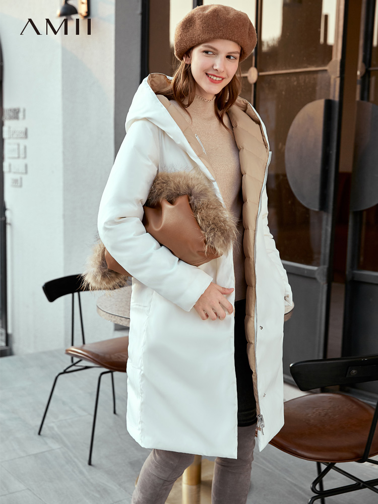 Amii 90% White Duck Down Jacket Winter Women Elegant Hooded Solid Straigh Loose Zipper Female Down Coat 11940922